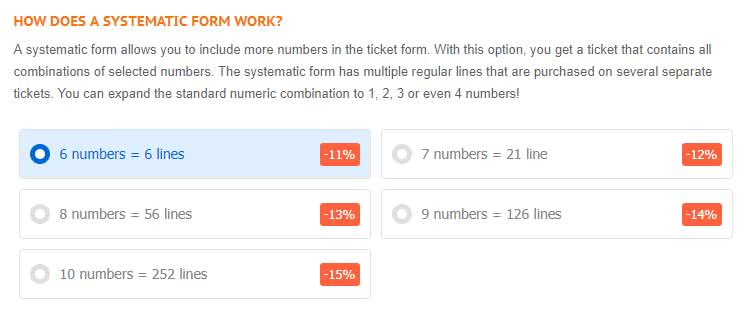 Systematic form: decide on the numbers
