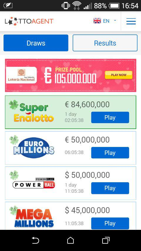 Front page of the Lotto Agent lottery app
